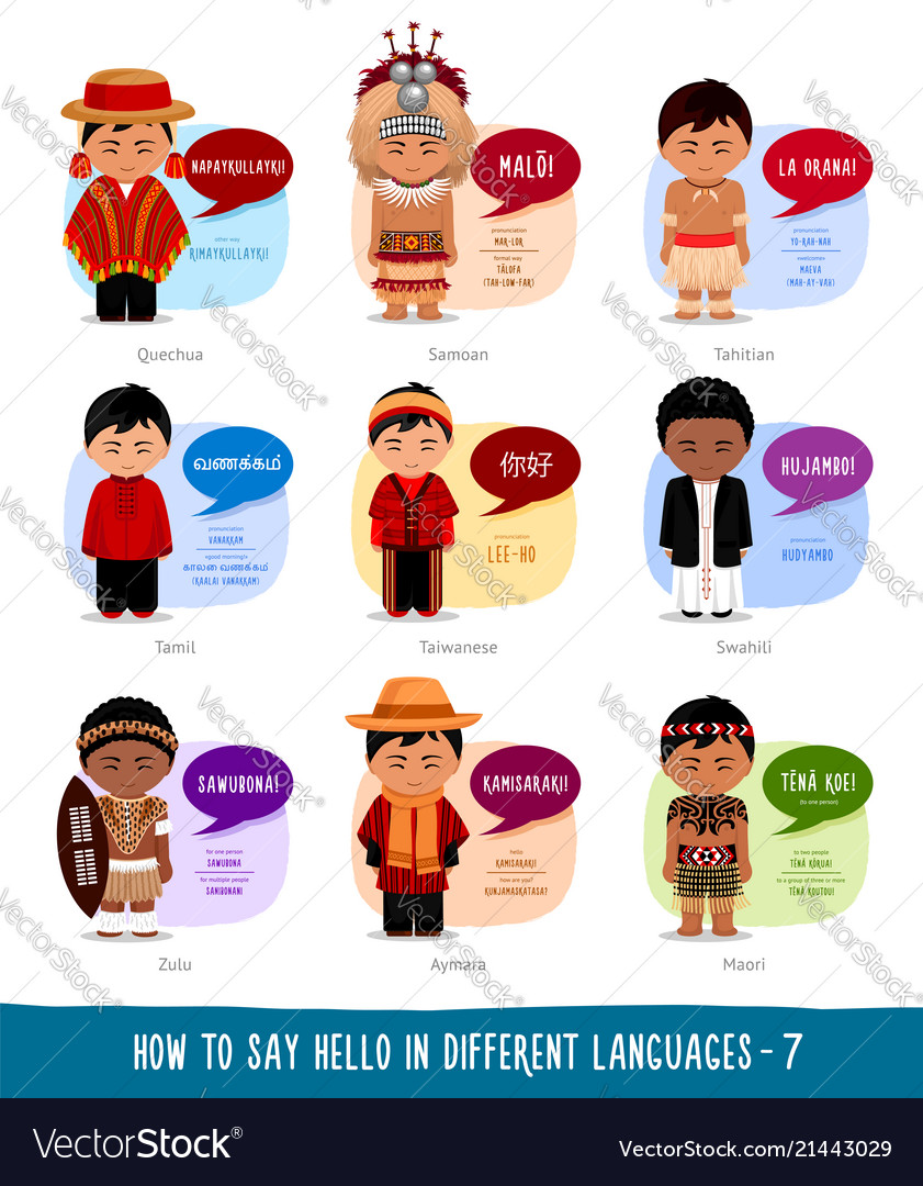 Boys Saying Hello In Foreign Languages Royalty Free Vector
