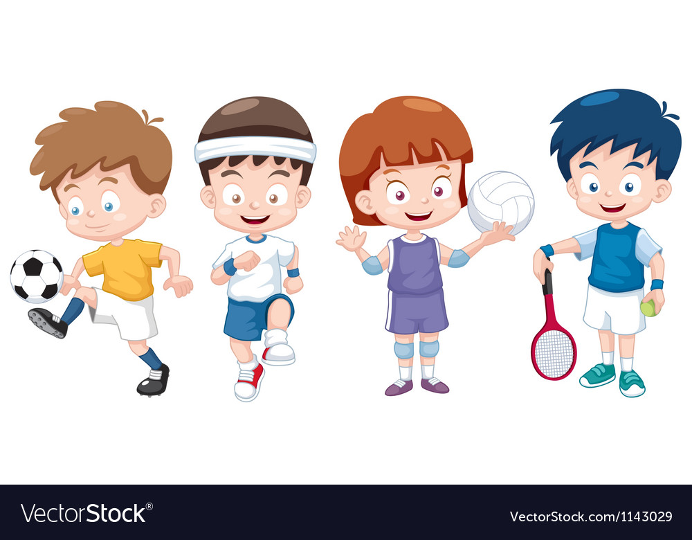 Kids Sports Cartoon: Cartoon Kids Sports Characters Royalty Free Vector Image