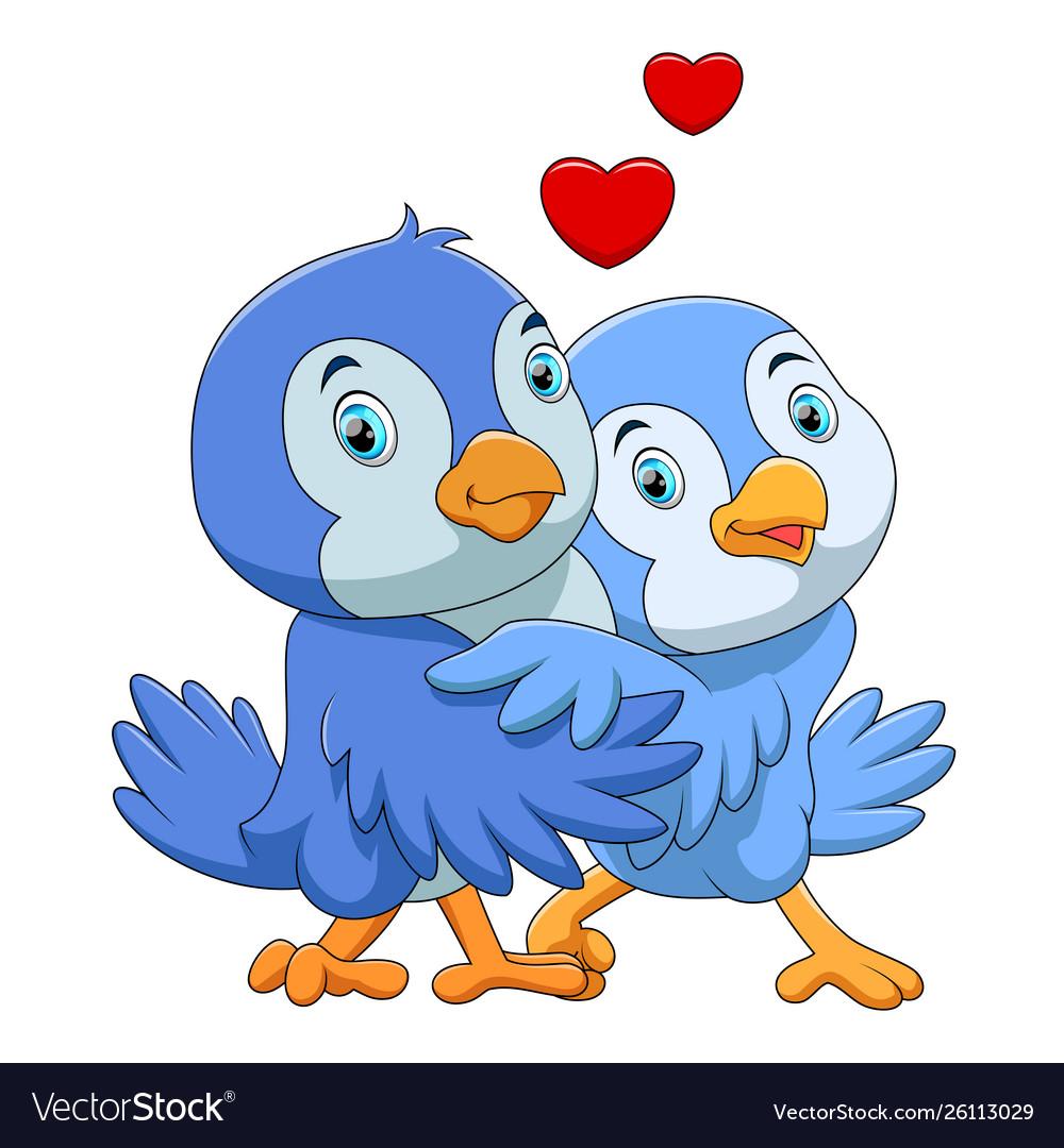 Cute Birds Couple Cartoon Royalty Free Vector Image