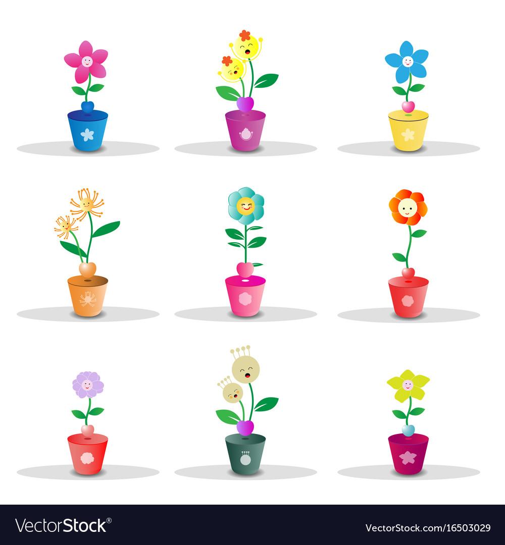 Cute flower pot on white background