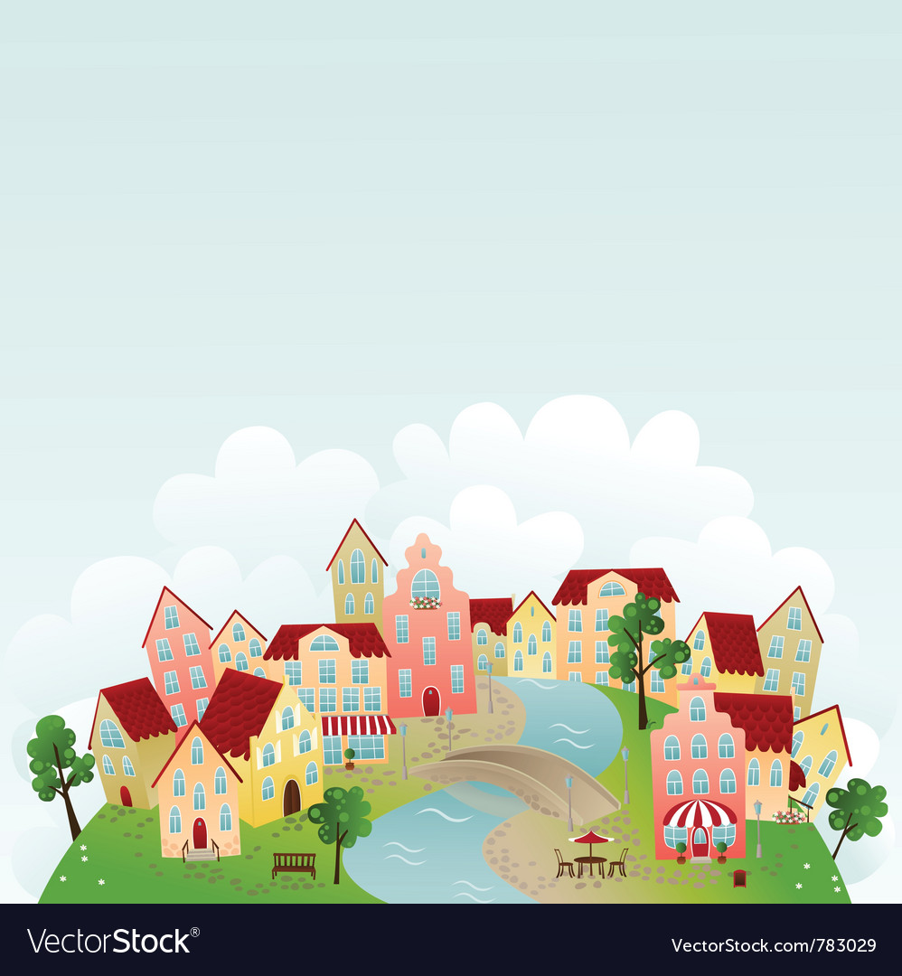 Cute Town Royalty Free Vector Image