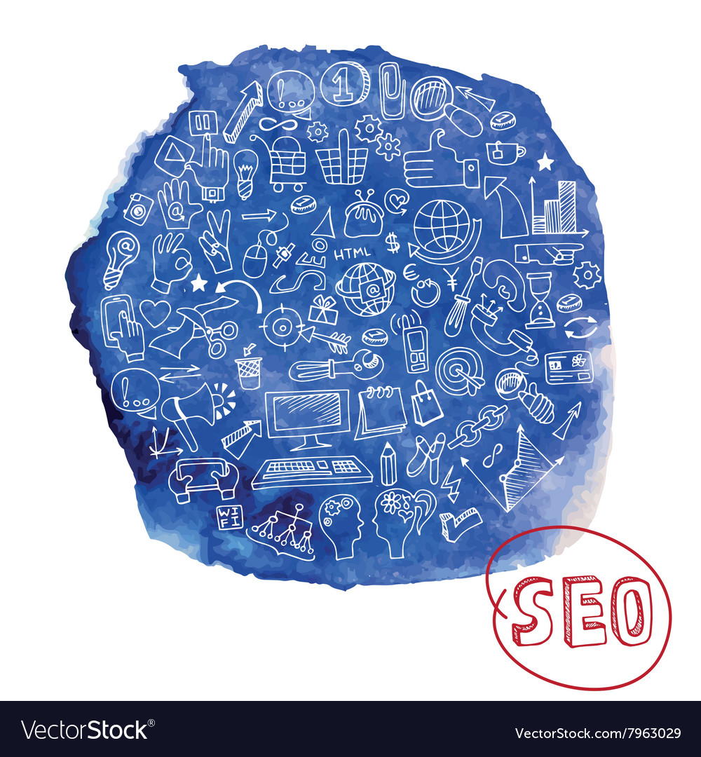Doodle seo concept with icons in watercolor blue