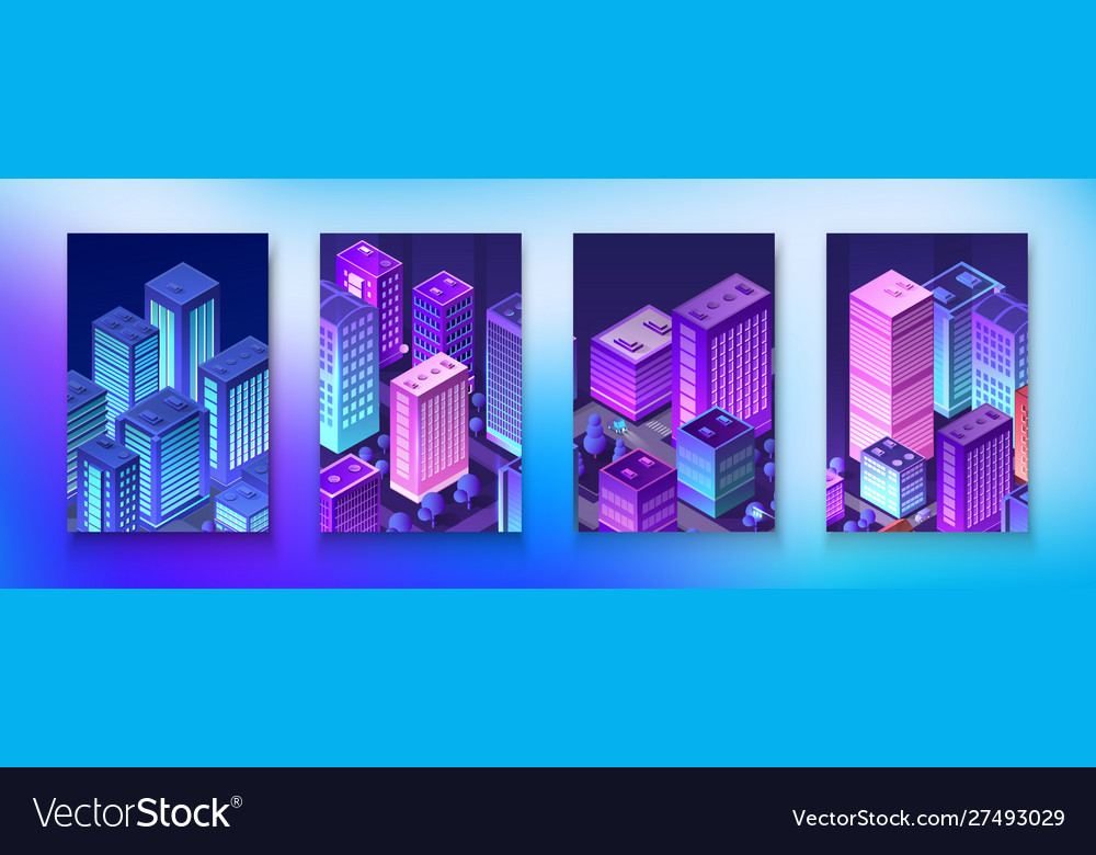Isometric set neon night ultraviolet module city