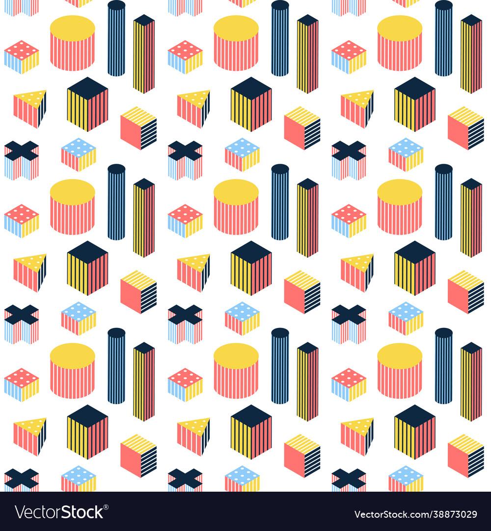 Isometry memphis seamless pattern
