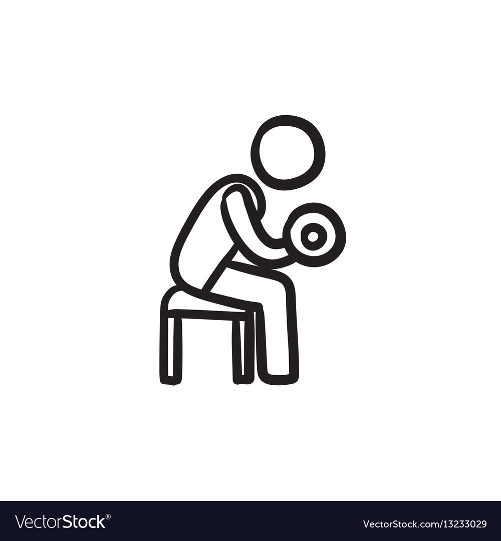 Man exercising with dumbbells sketch icon vector image