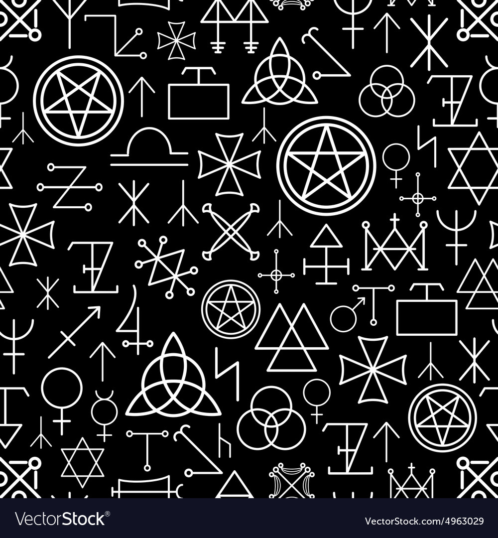 Mystical seamless pattern on black background vector image