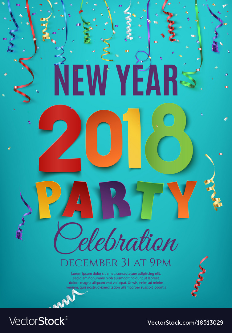 New year 2018 party poster design template