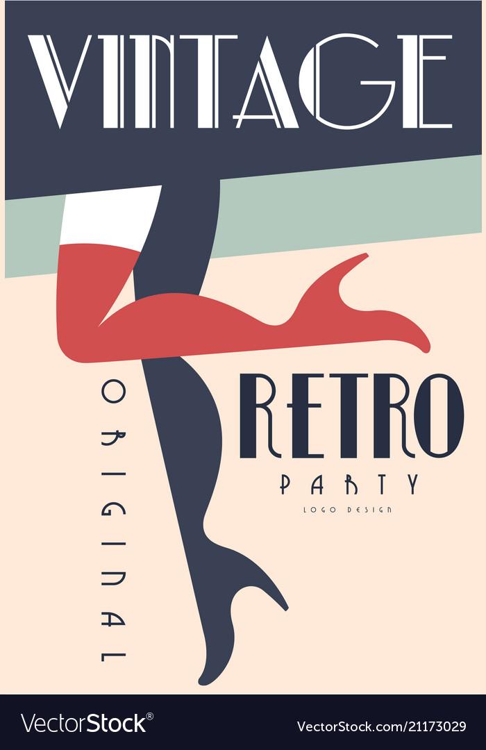 Retro vintage party original logo design emblem