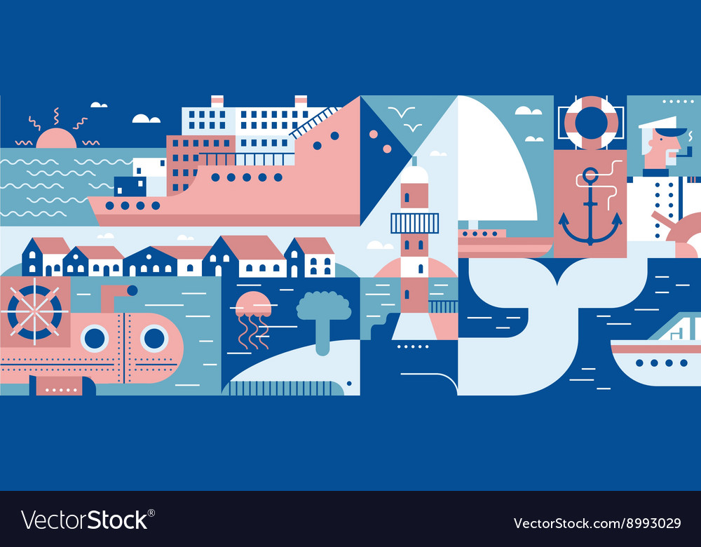 Sea lifestyle port and city background vector image