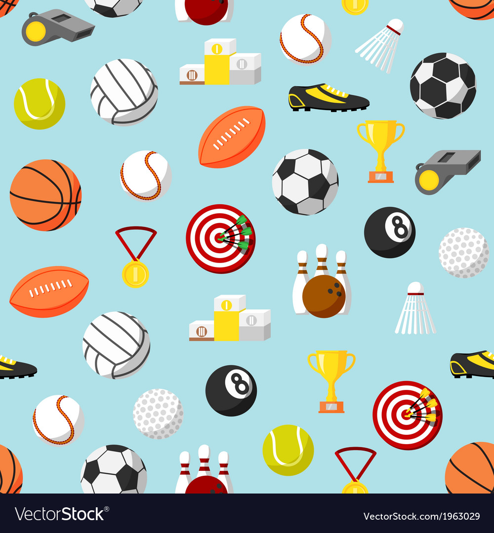 Seamless sports pattern background
