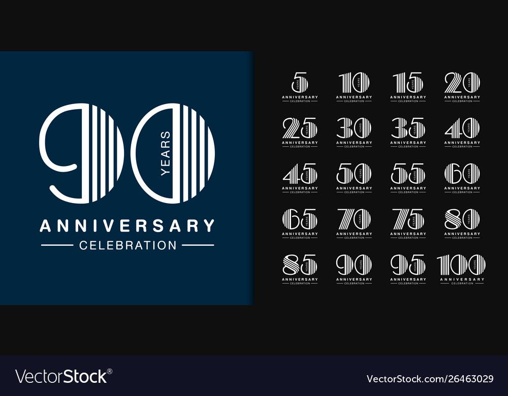 Set anniversary logotype modern anniversary