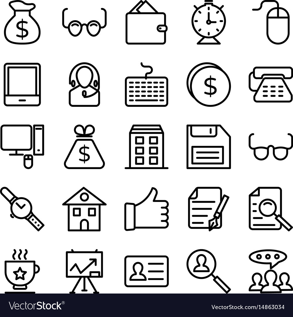 Business and office line icons 9