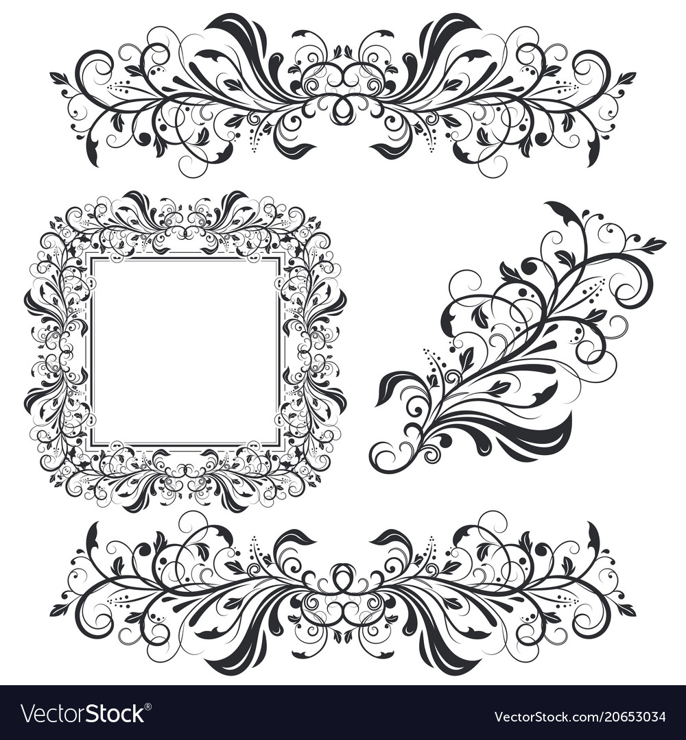 . Floral decorative frame and ornaments wedding