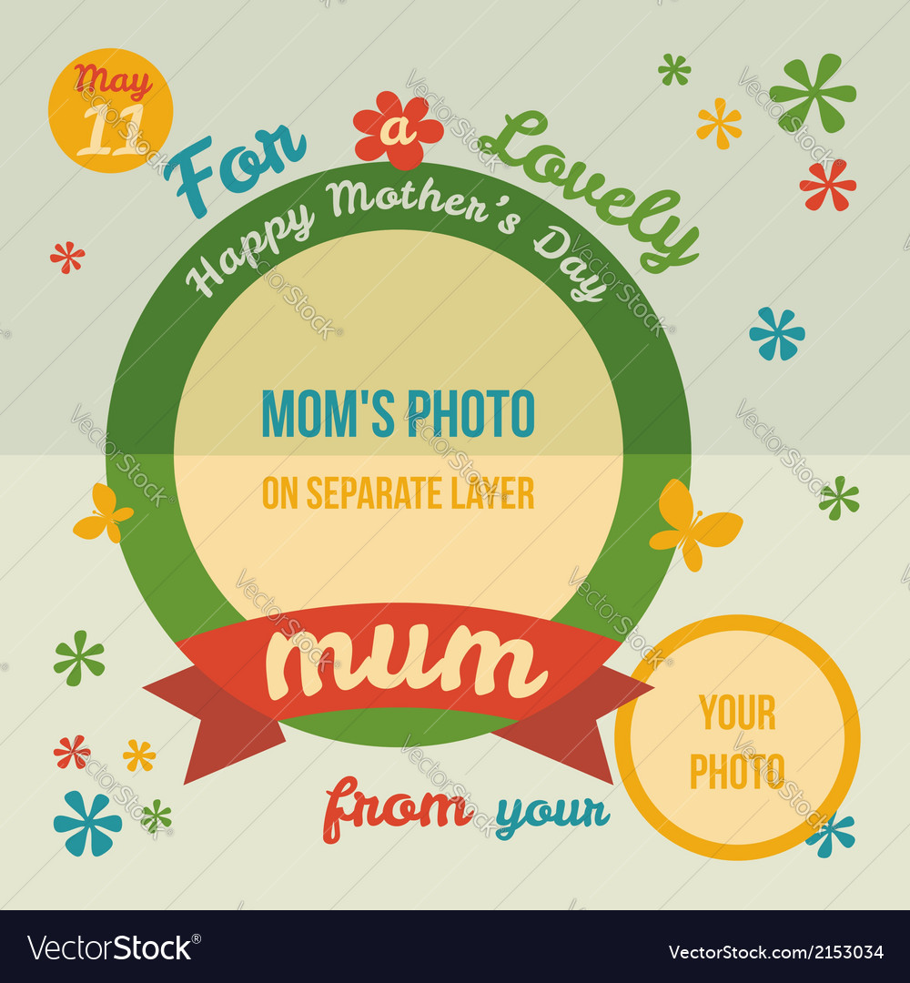 For a lovely Mum greeting card flat design
