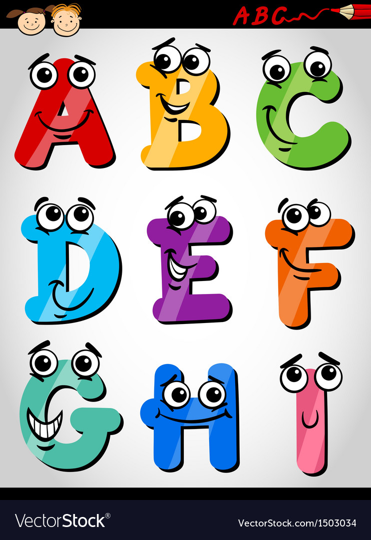 Funny letters alphabet cartoon