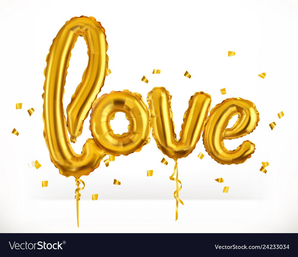 Golden toy balloons love valentines day 3d icon