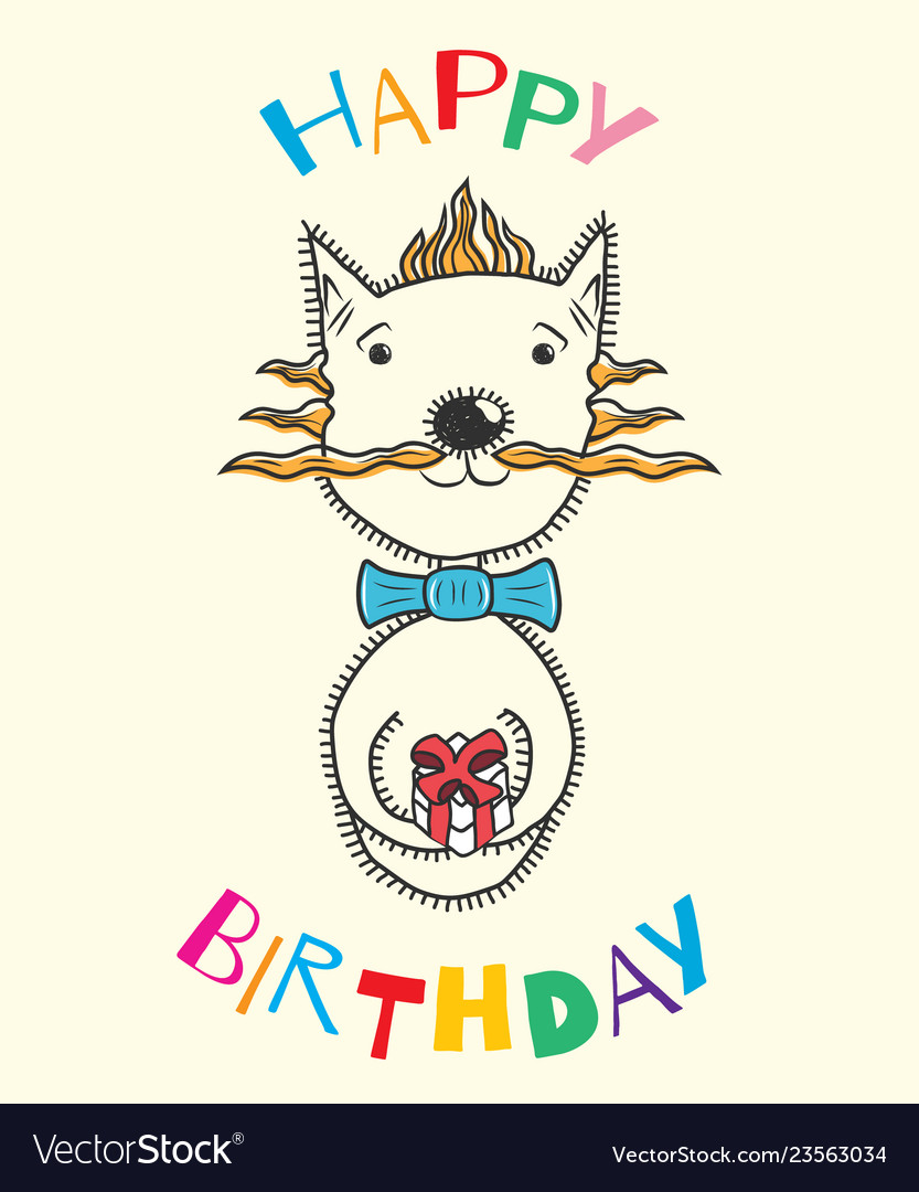 Happy Birthday Card With A Cat For Children Vector Image