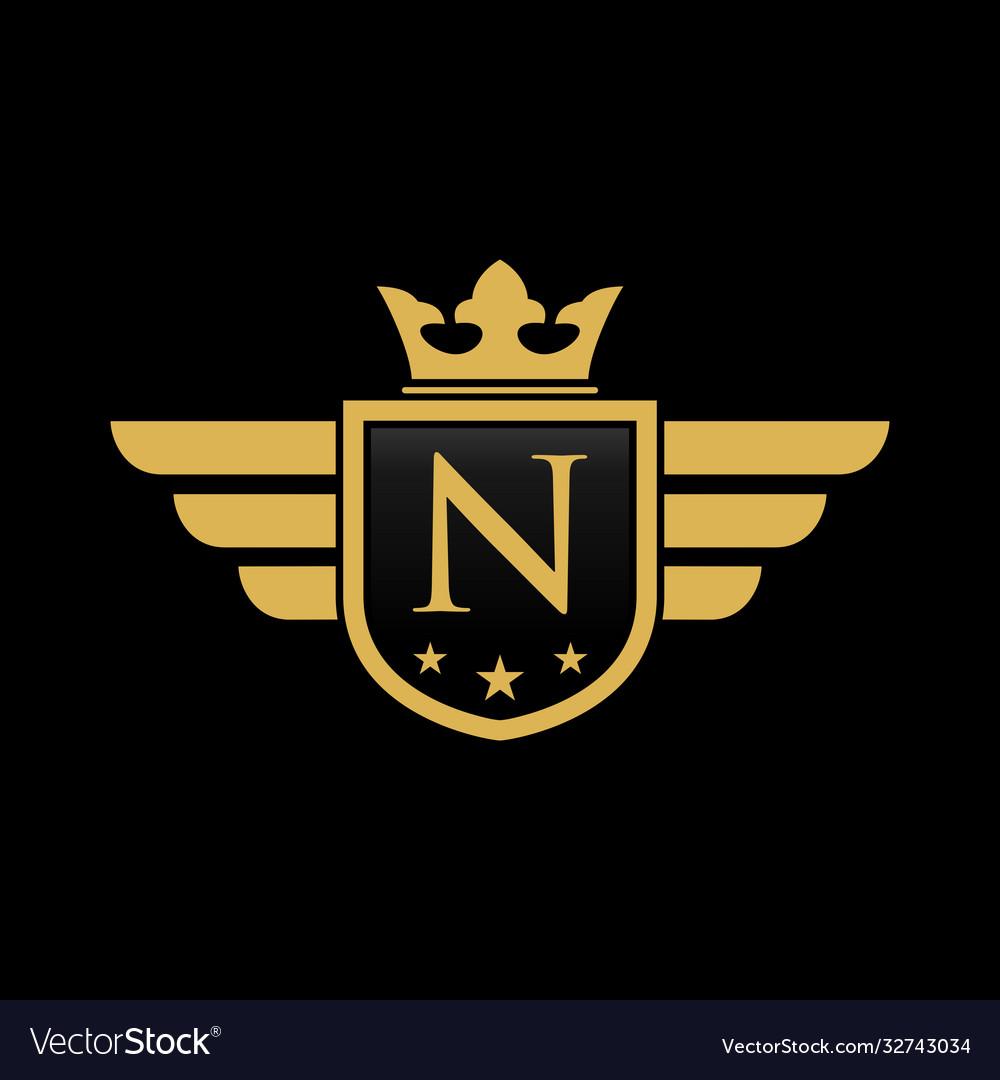 Letter n shield wing