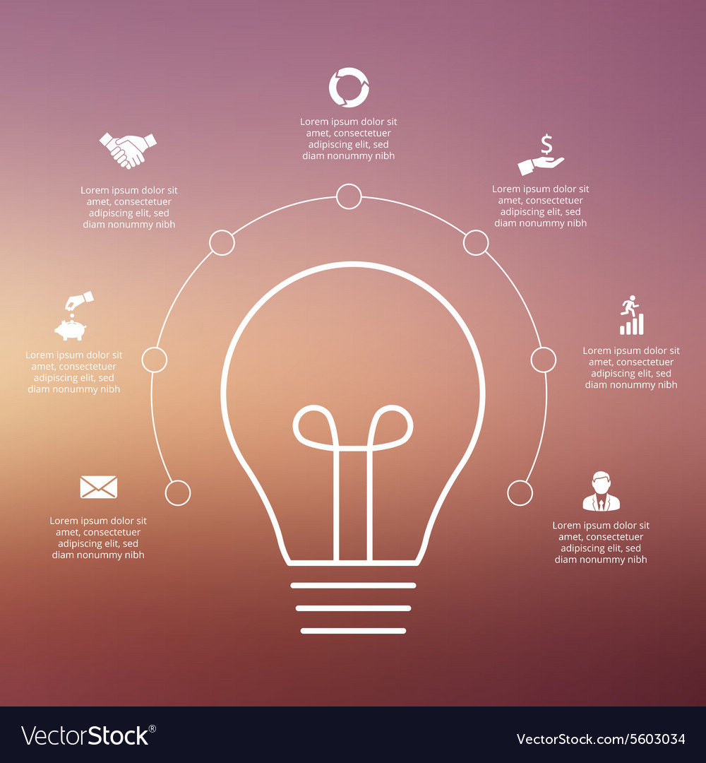 Light bulb with circles for infographic