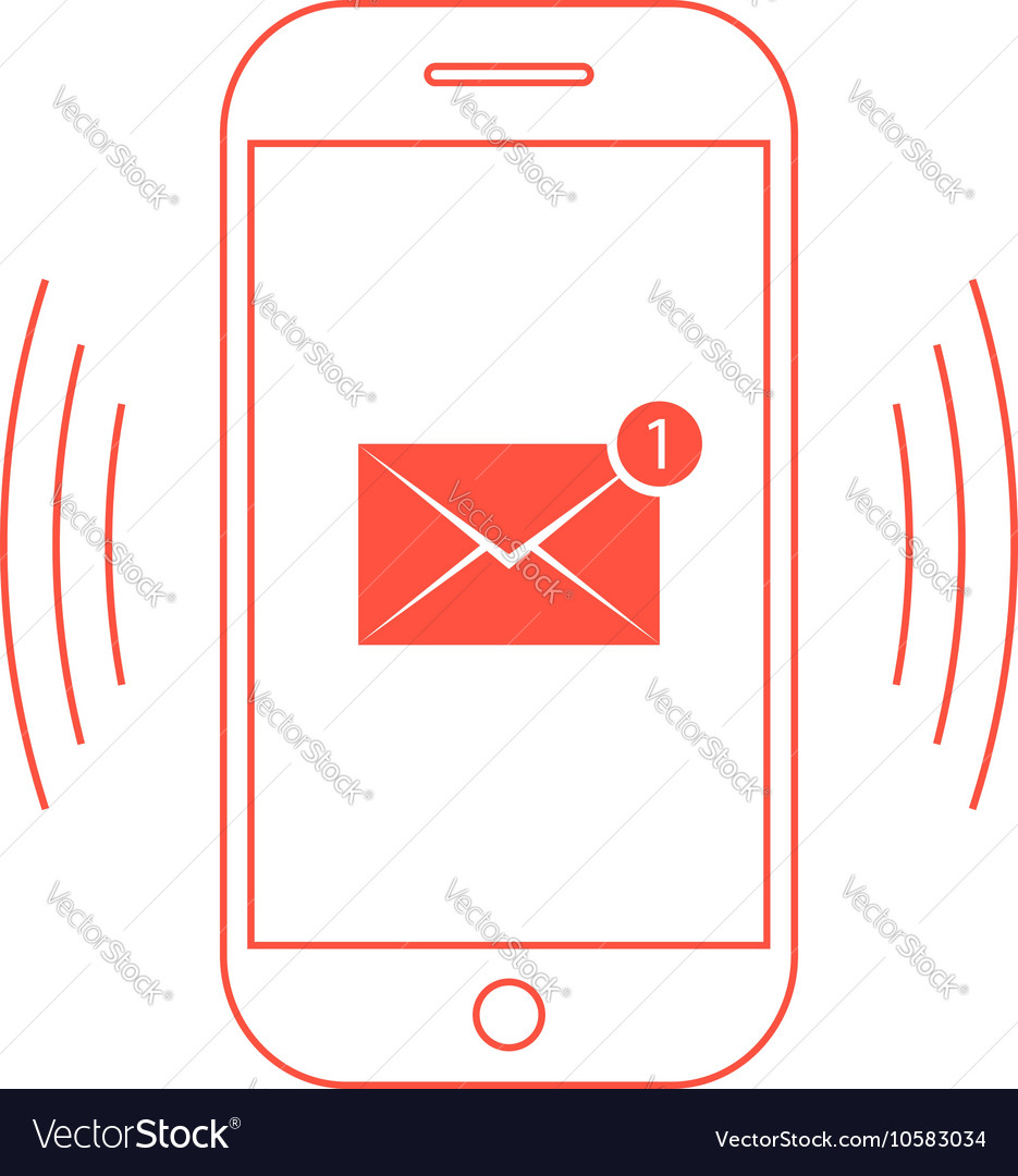 Outline red smartphone with one email icon
