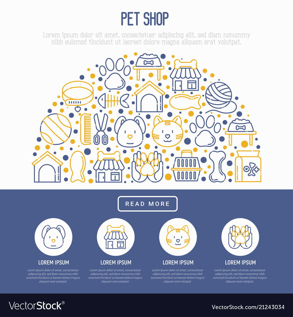 Pet shop concept in half circle