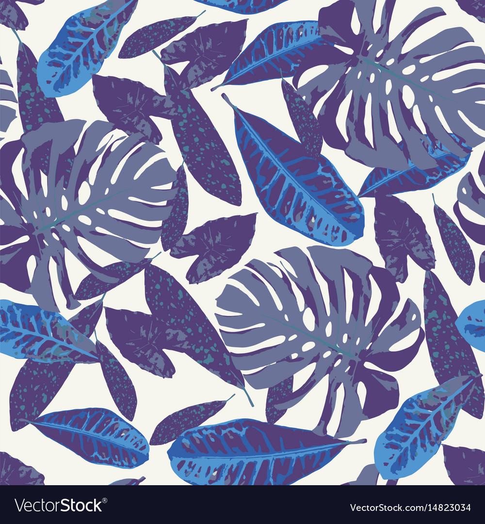 Seamless pattern with tropical leaves vector image