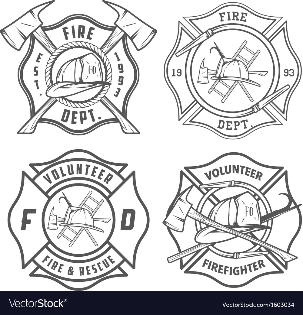 Set fire department emblems and badges