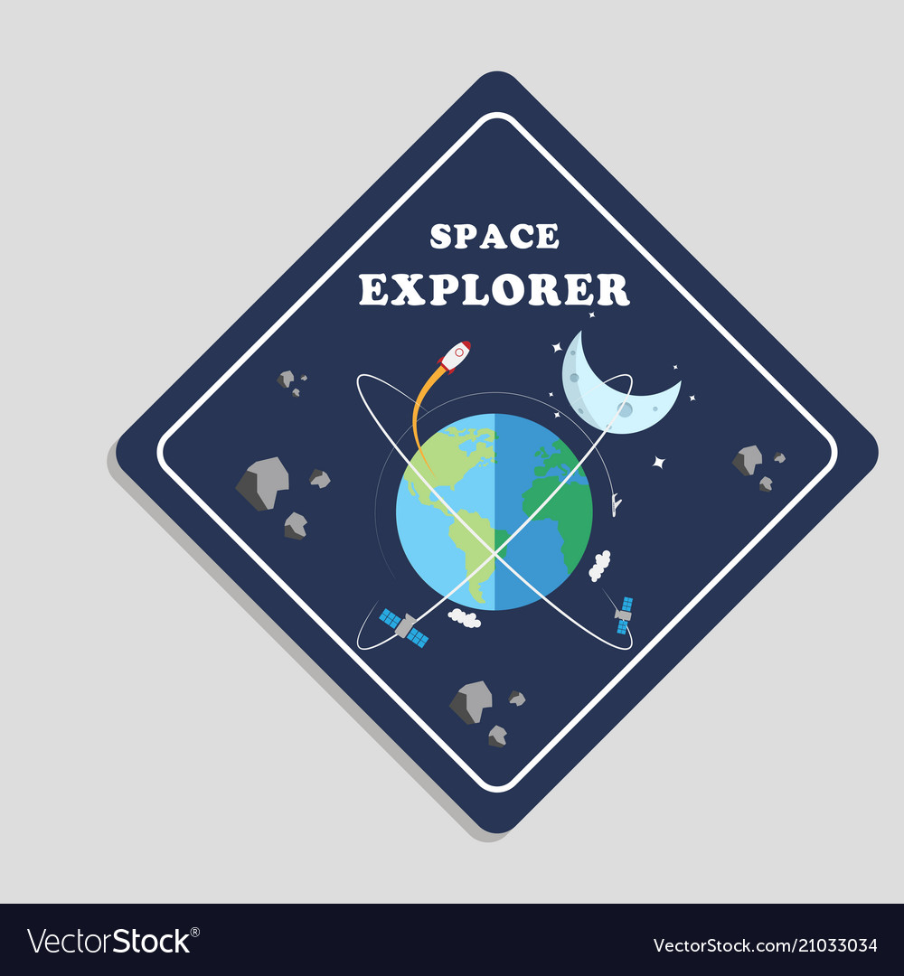 Space explorer orbits around earth background vect