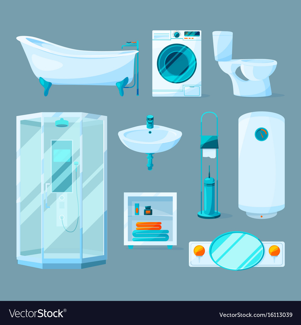 Bathroom interior furniture and different vector image