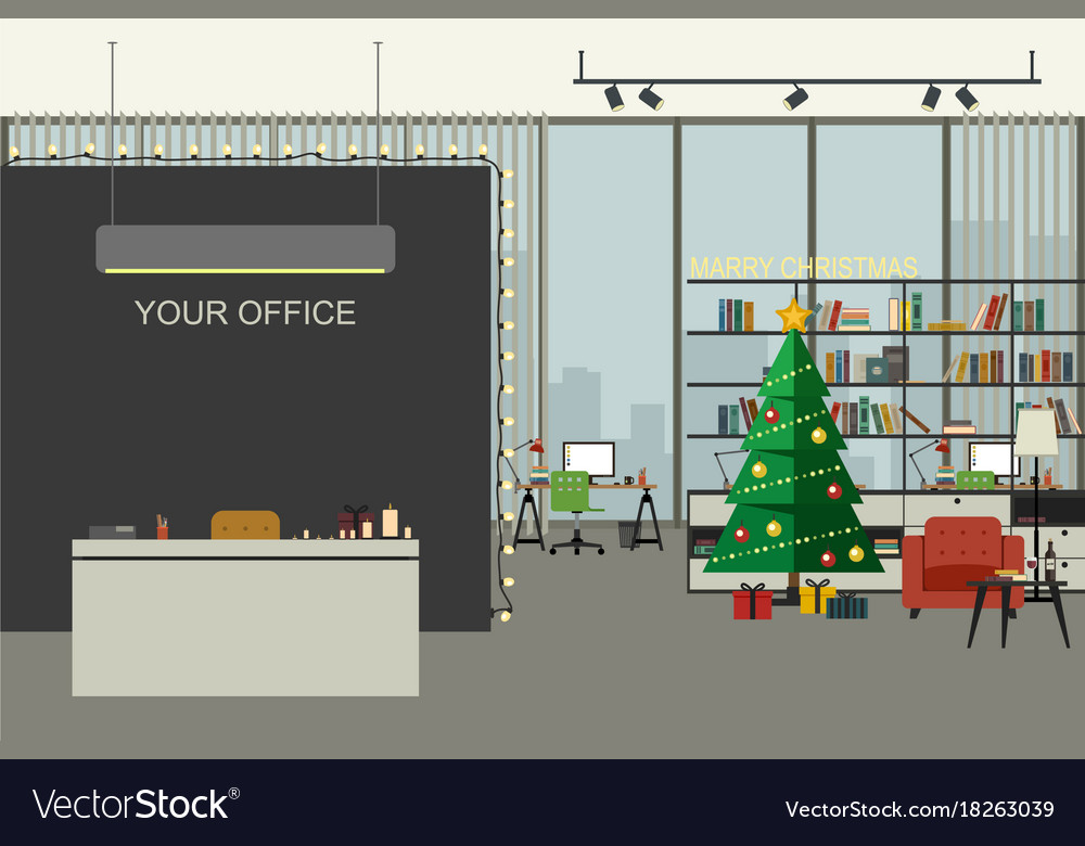 Christmas office in flat style vector image