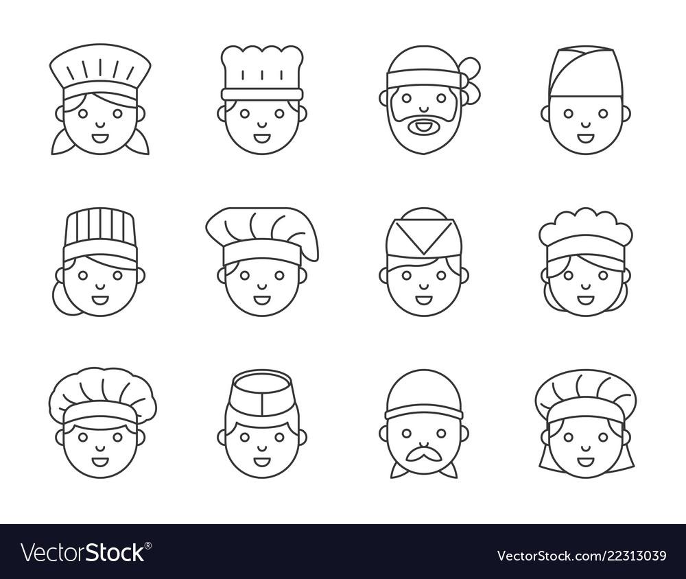 Cute chef head outline icon editable stroke