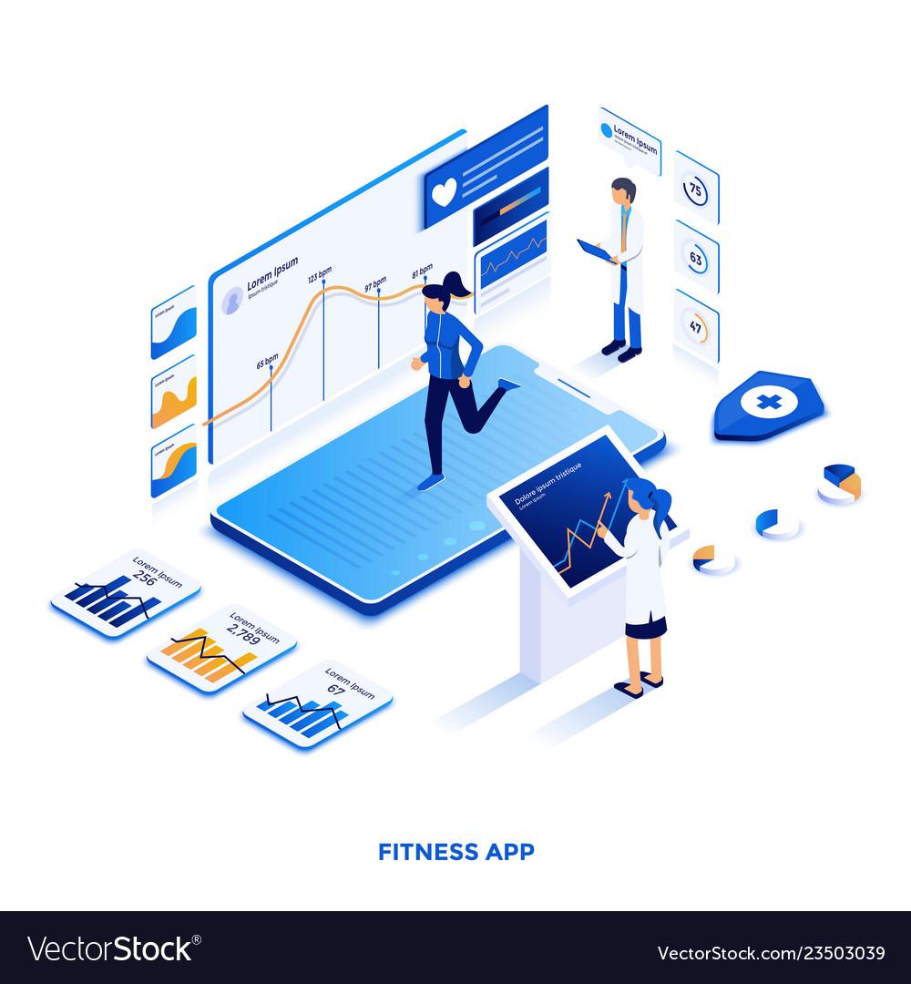 Flat color modern isometric design - fitness app