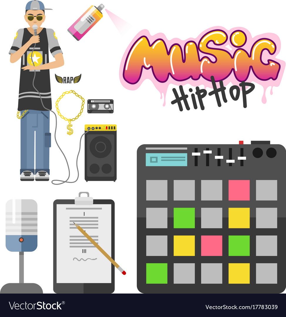 Hip hop character musician with microphone