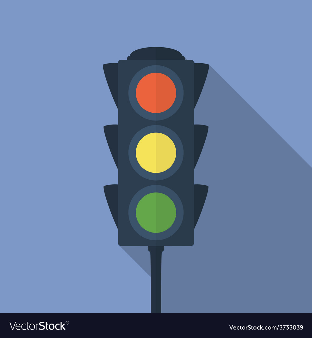 Icon of traffic light Flat style