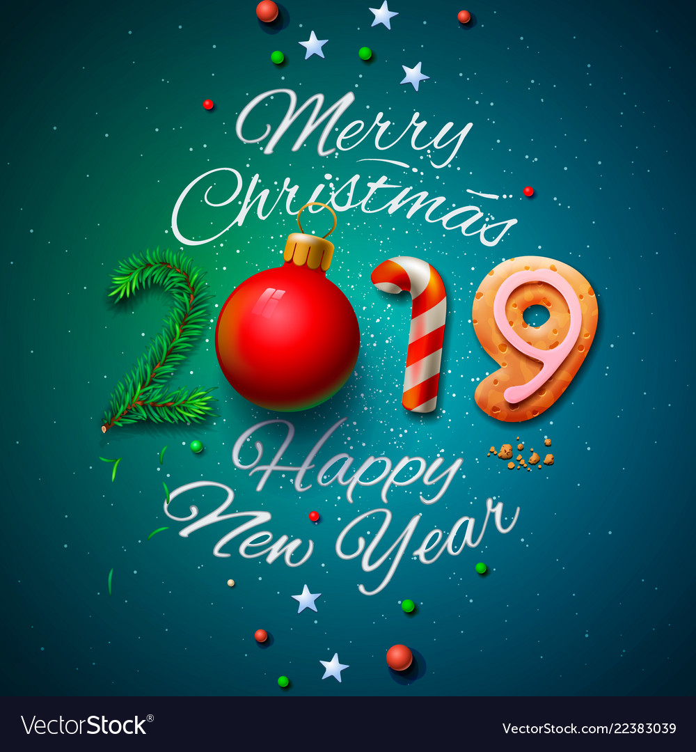 Merry En: Merry Christmas And Happy New Year 2019 Greeting Vector Image
