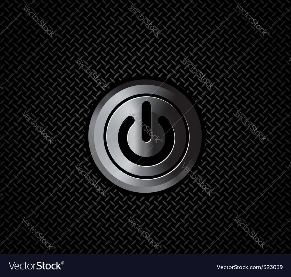 Metal button power vector image