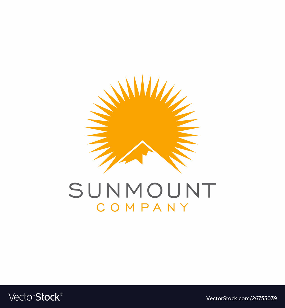 Mountain sun logo design inspiration vector image