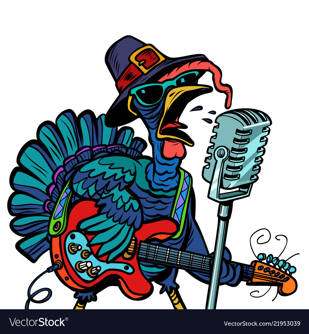 Thanksgiving turkey character singer isolate on