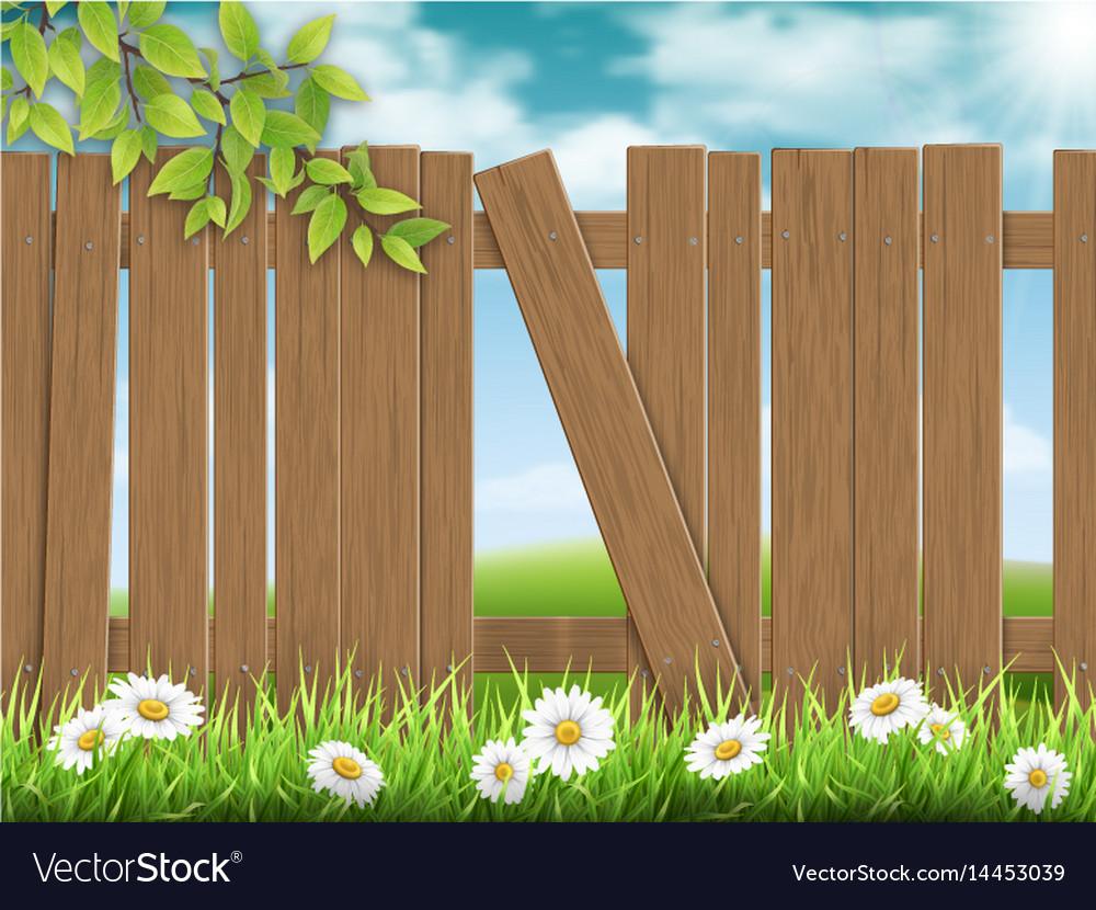 Wooden fence broken plank