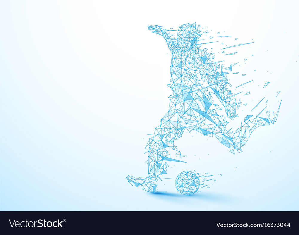 Abstract low polygon football player kicking the