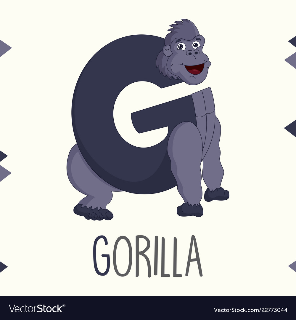Alphabet letter g and gorilla