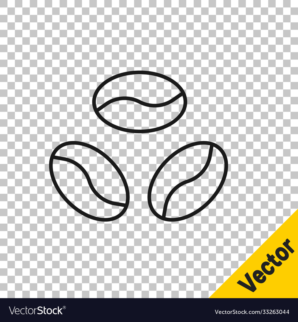 Black line coffee beans icon isolated on