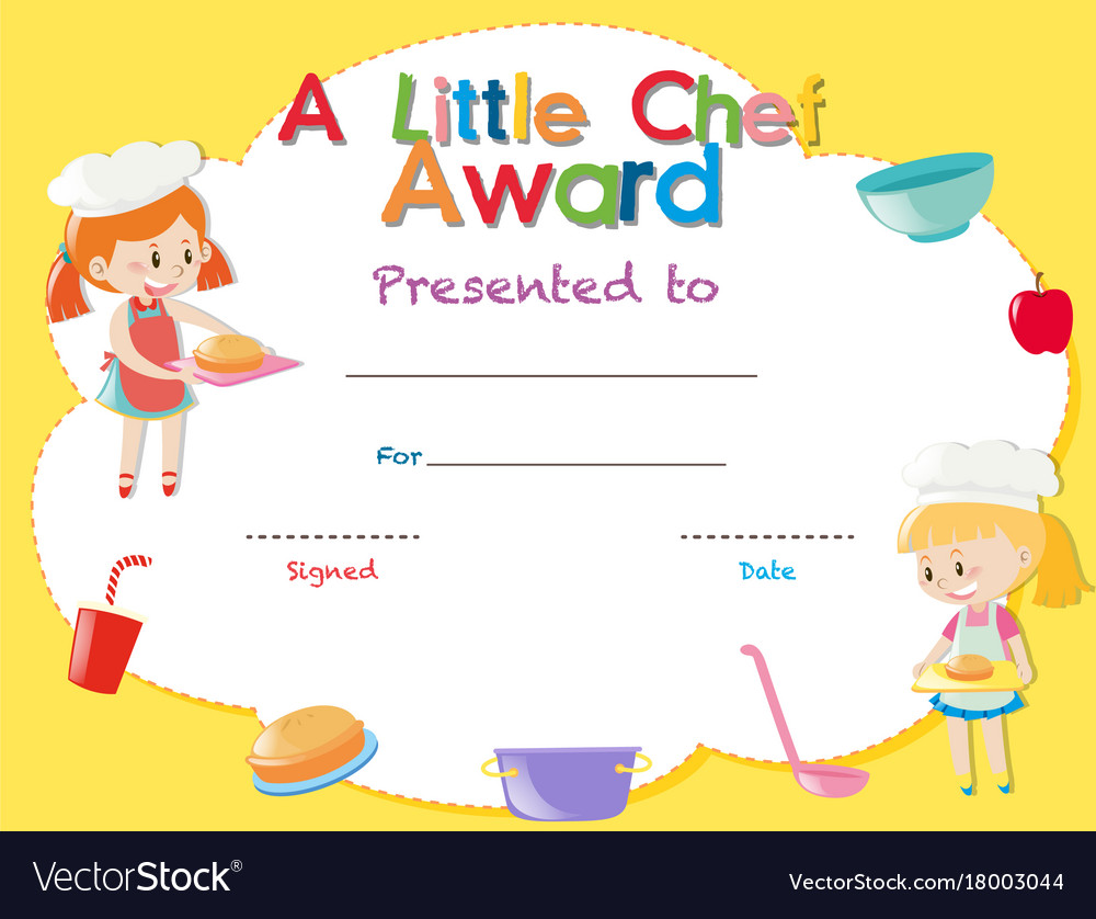 Certificate template with kids cooking vector image