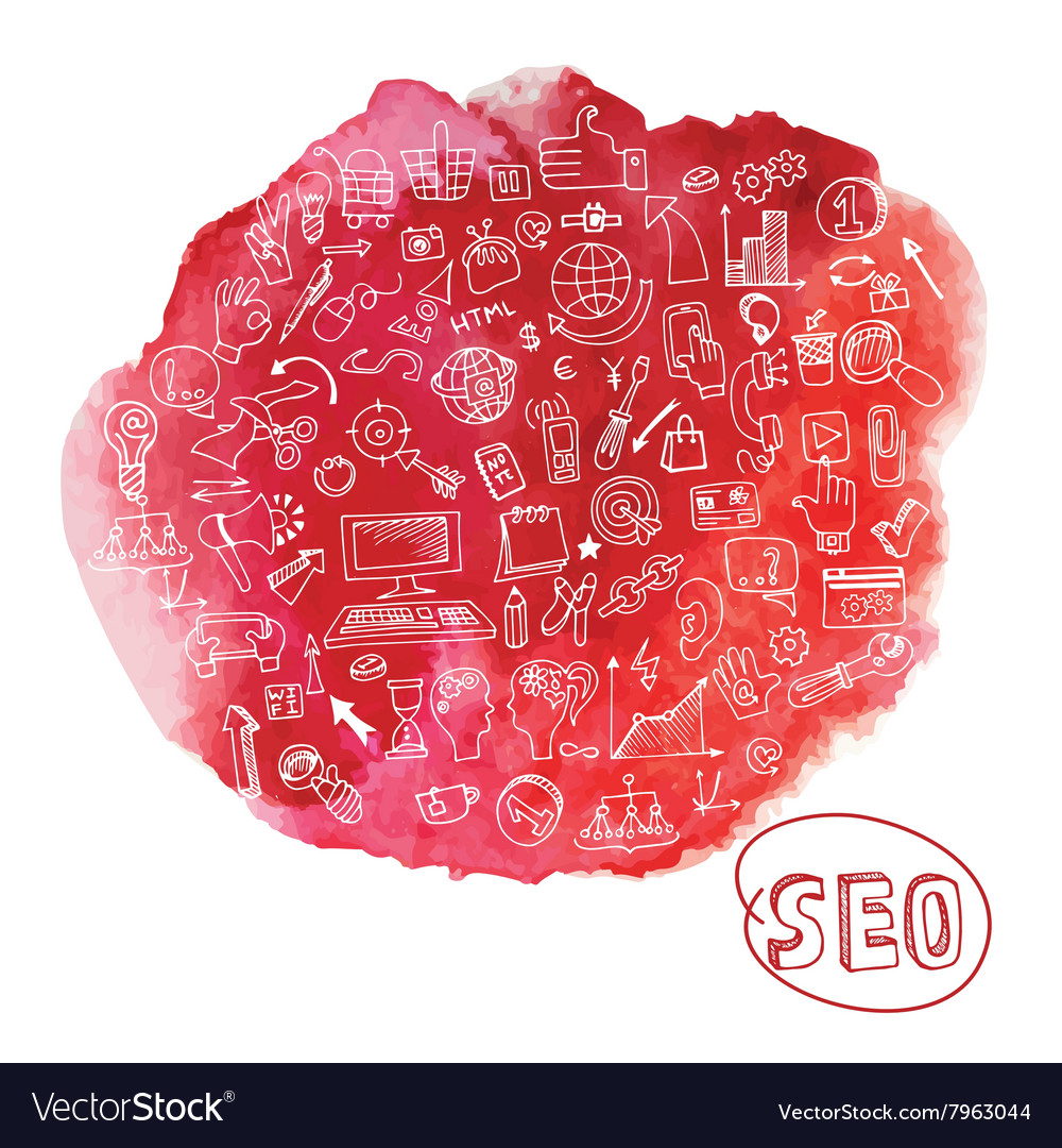 Doodle seo concept with icons in watercolor red