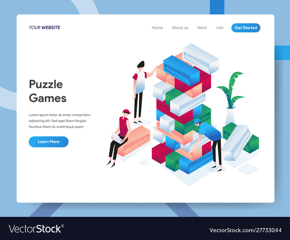 Landing page template puzzle games isometric