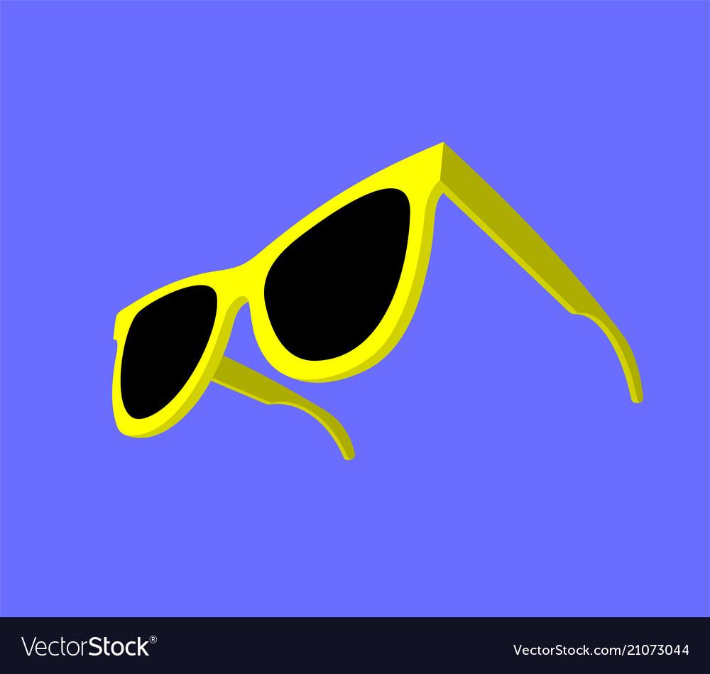 Modern yellow sunglasses on blue background