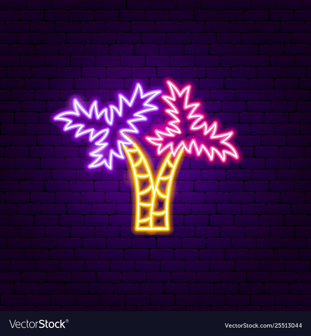 Palm trees neon label