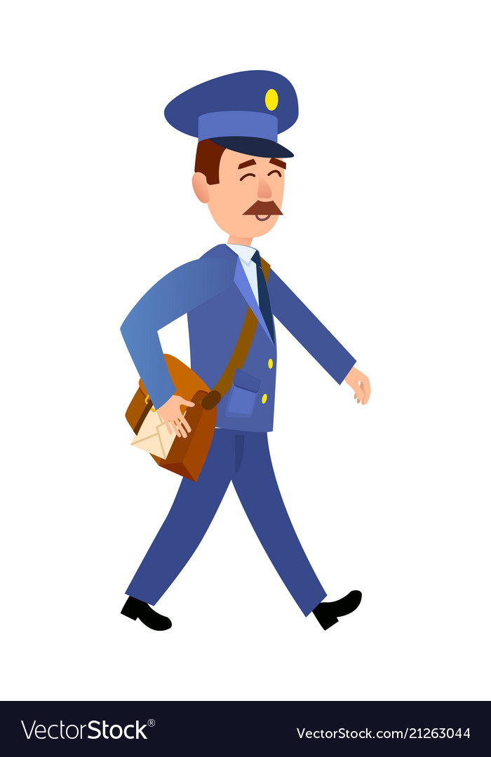 Postman delivering mail isolated cartoon