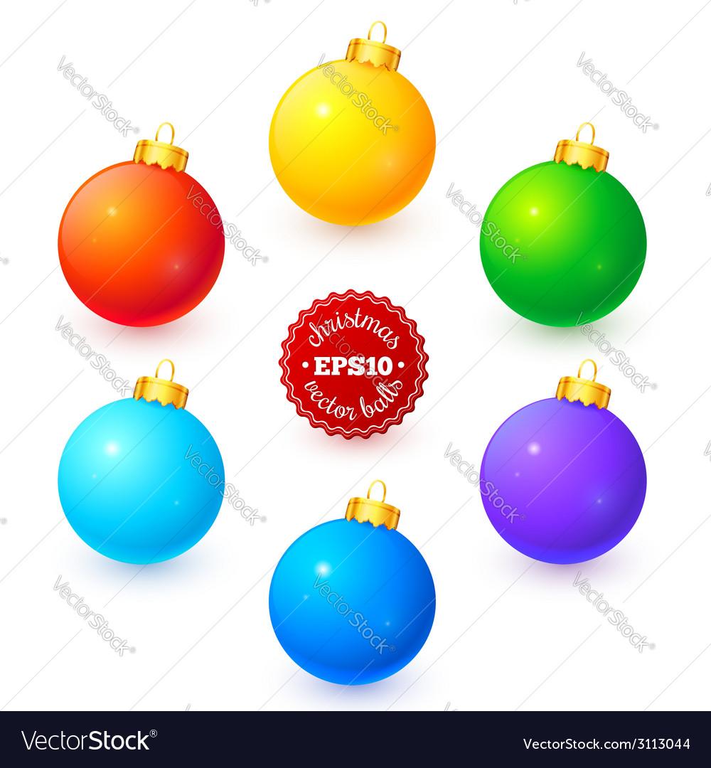 Rainbow colors christmas balls set