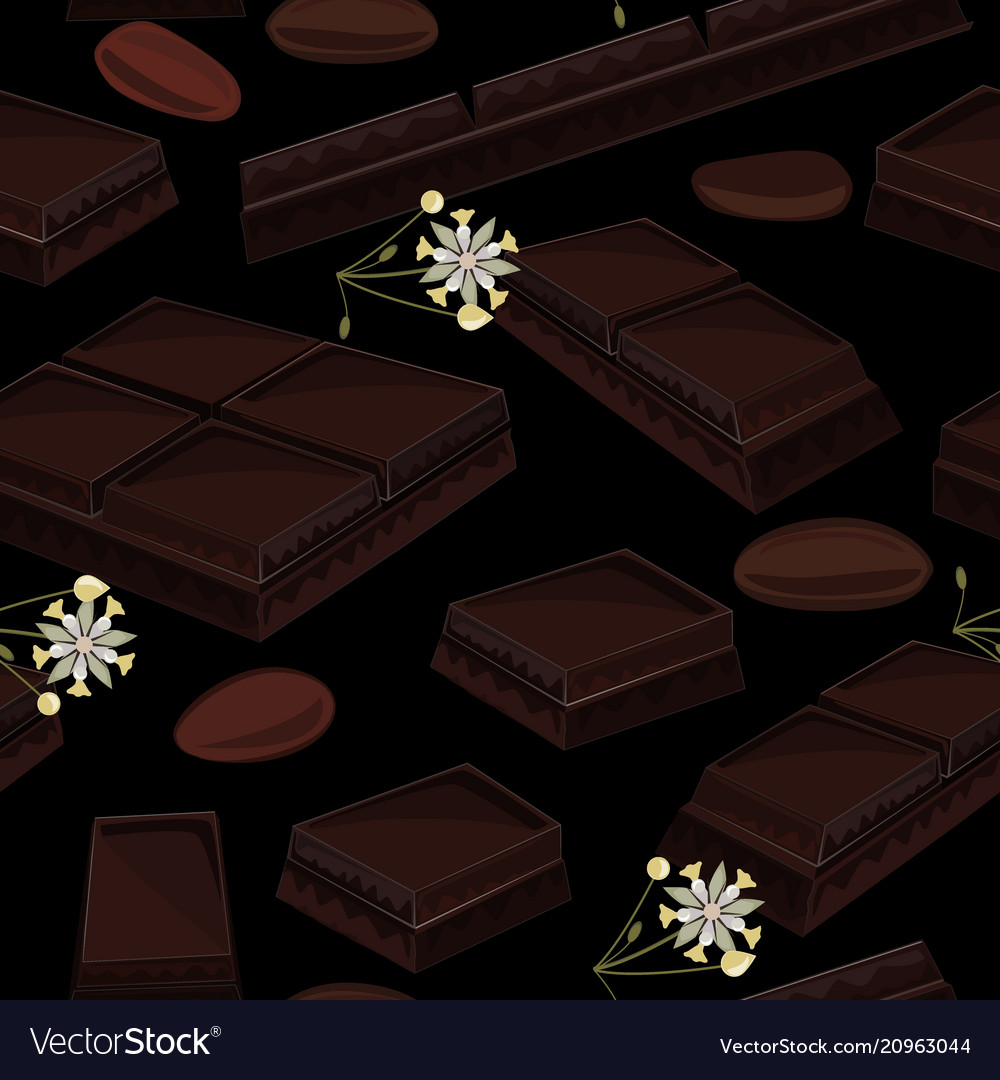 Seamless background with piece of black chocolate